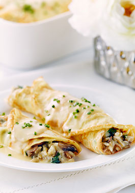 riceinfo.com Herbed Crepes with Cheese, Rice, Spinach and Mushrooms ...