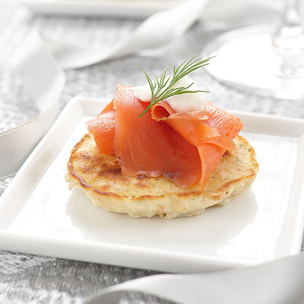 Brown Rice Blinis with Smoked Fish and Crème Fraiche