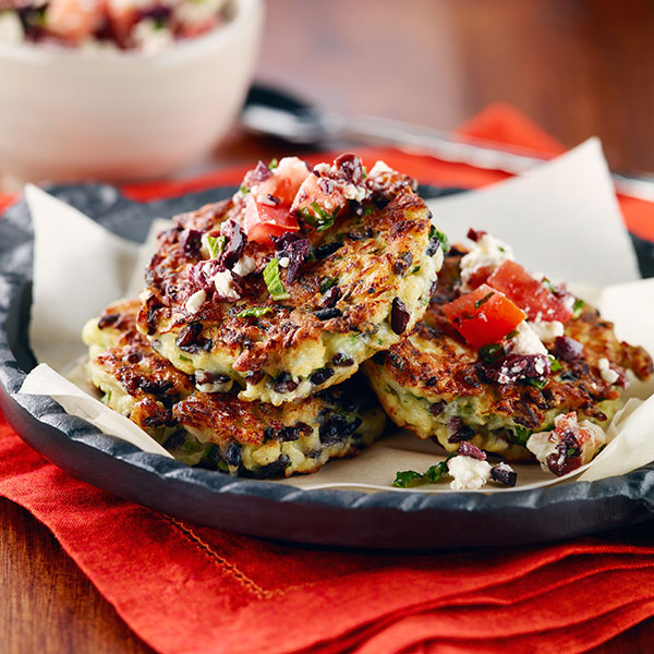 Cauliflower and Black Rice Fritters with Feta Olive Relish