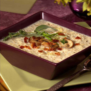 Cremini Mushroom and Roasted Garlic Rice Soup