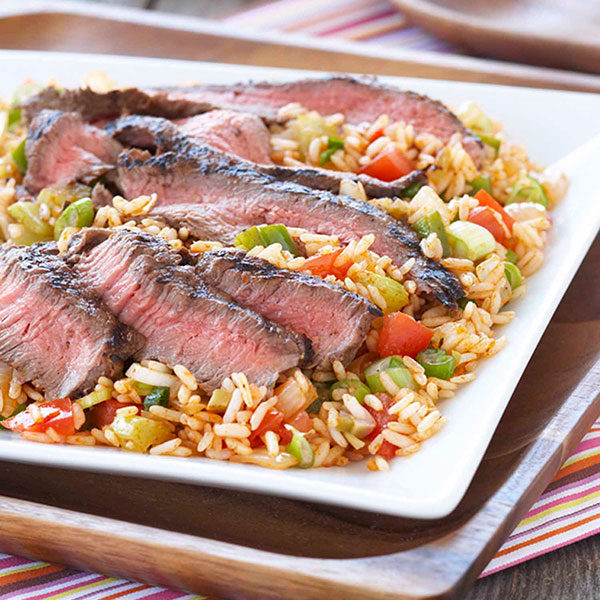Creole Grilled Rice Pilaf with Spicy Steak