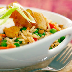 Curried Chicken, Lentil and Rice Skillet