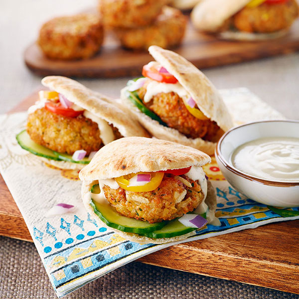 Falafel Patties with Rice and Lemon Tahini Sauce