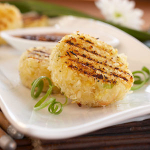 Grilled Shrimp Rice Cakes with Chili Plum Sauce