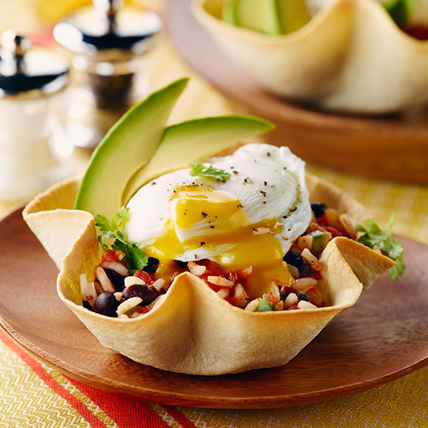 Huevos Rancheros Tortilla Cups with Rice
