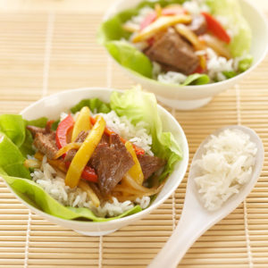 Mango Beef and Rice Lettuce Wraps