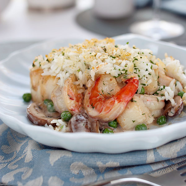 Rice Topped Seafood Pie