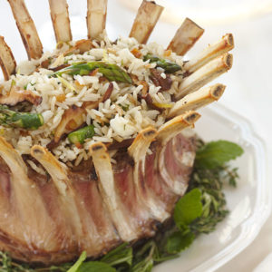 Rice Stuffed Crown of Lamb