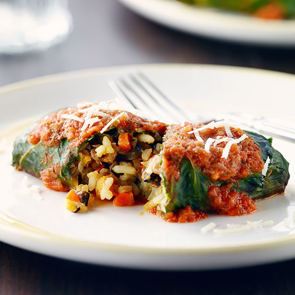Swiss Chard, Lentil and Rice Dolmades with Tomato Dill Sauce