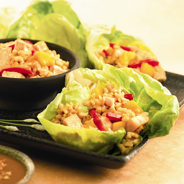 Thai Chicken and Rice Lettuce Wraps