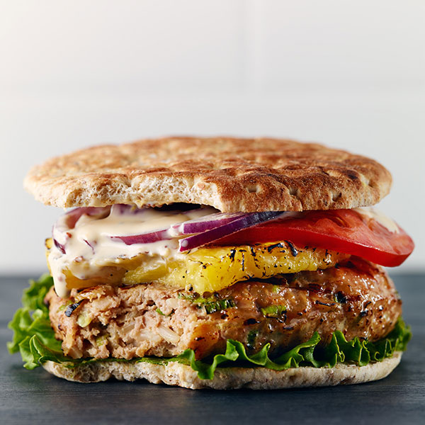 Turkey and Rice Pineapple Burgers with Sesame Mayonnaise