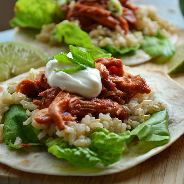 Saucy Pulled Chicken and Rice Tacos