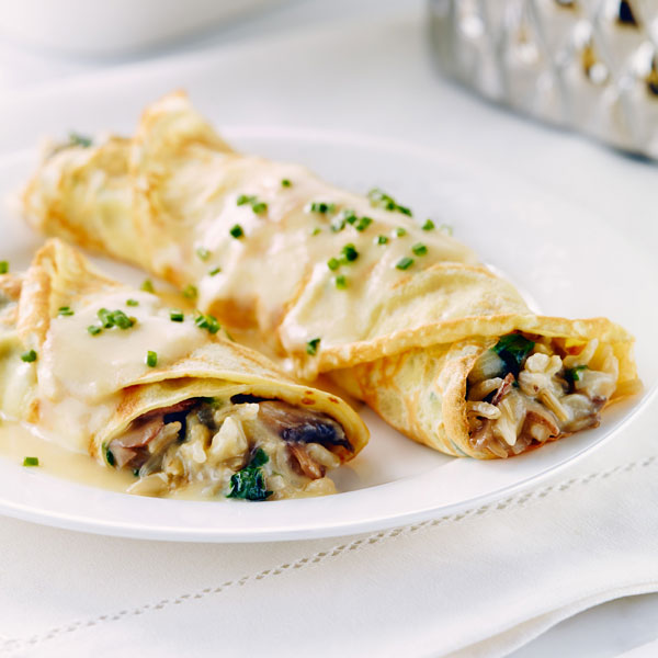Herbed Crepes with Cheese, Rice, Spinach and Mushrooms