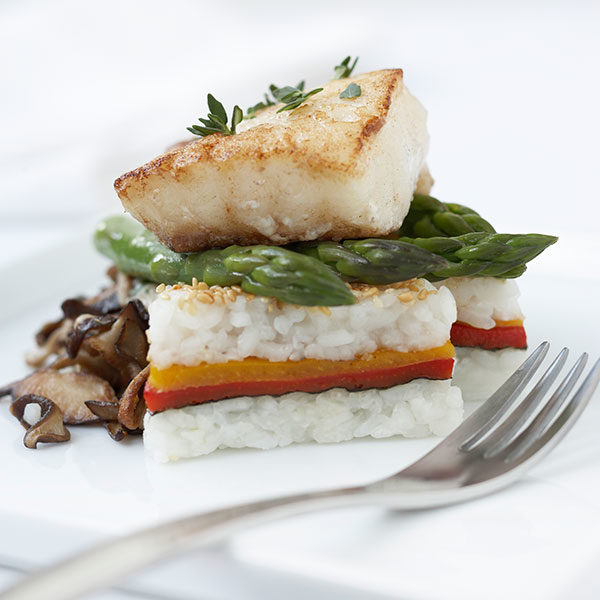 Roasted Pepper & Rice Sandwich with Grilled Halibut, Oyster Mushrooms & Orange Szechwan Vinaigrette