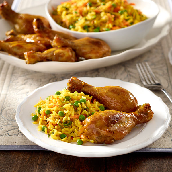 Sweet Curry Drumsticks with Basmati Pilaf
