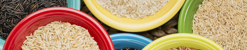 Colourful bowls of rice
