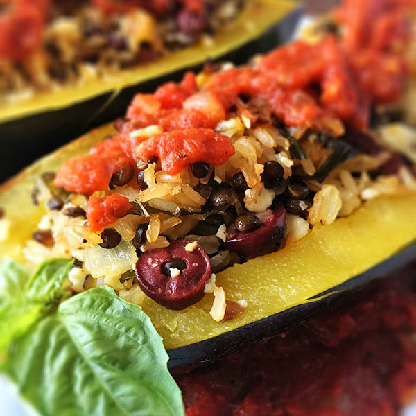 Greek Stuffed Zucchini With Rice And Lentils
