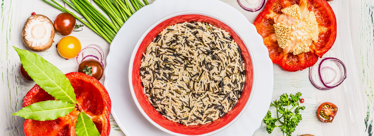 bowl of wild rice, a red pepper