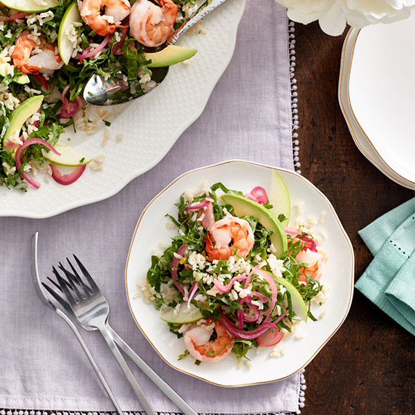 Supergreens, Shrimp and Rice Salad