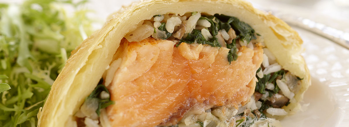 Salmon and Rice Stuffed Pastry with Dill Sauce