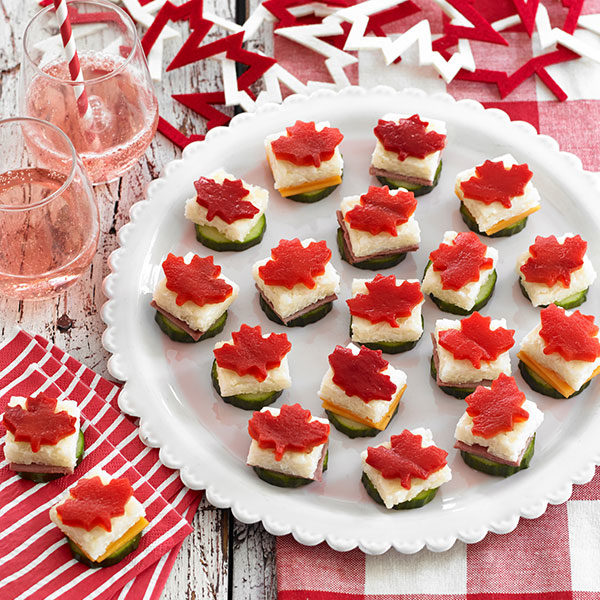 Red, White and Rice Canapés