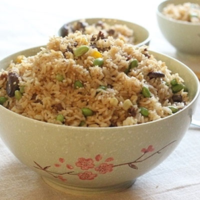 Beef fried rice with edamame and corn