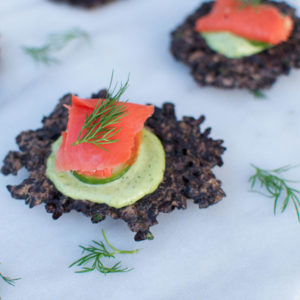 Black Rice Cakes With Smoked Salmon & Dill