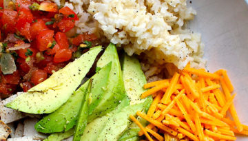 Easy Brown Rice Chicken Burrito Bowl with Charred Corn