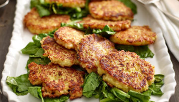 Kohlrabi Rice Fritters With Garlicky Greens
