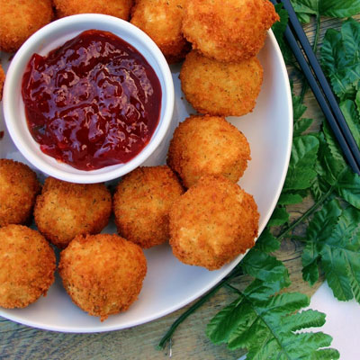 Crunchy Pickle Rice Balls with Spicy Red Pepper Jelly