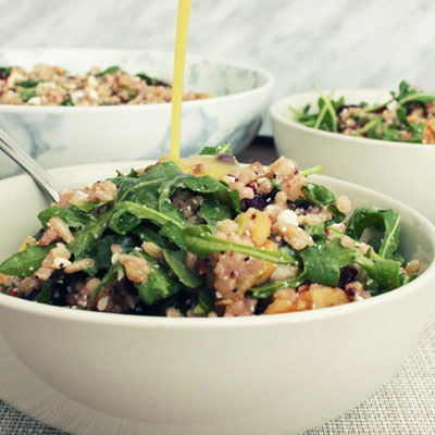 Winter Brown Rice Salad with Feta and Cranberries