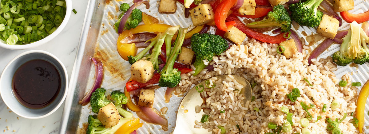 Sheet Pan Tofu Stir Fry with Toasted Sesame Rice