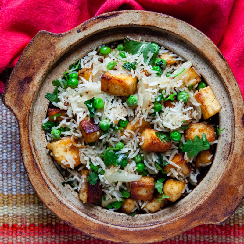 Cilantro Rice with Paneer and Peas - A Fragrant Side Dish
