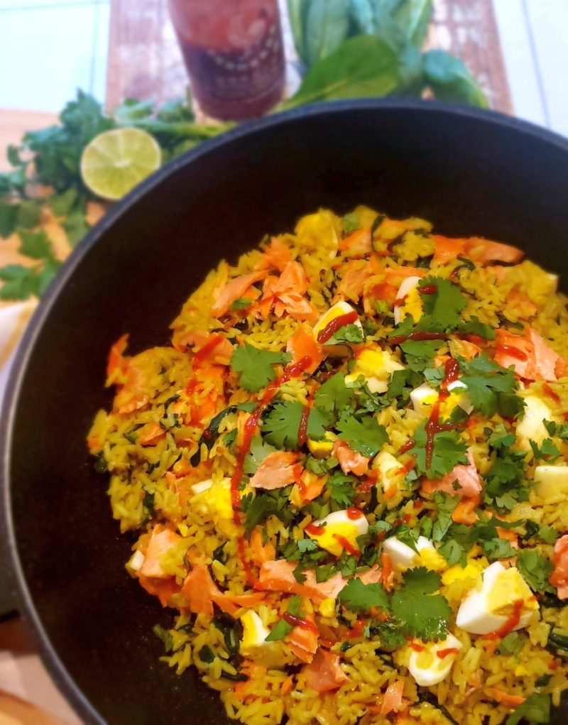 Skillet Asian Rice With Salmon and Eggs