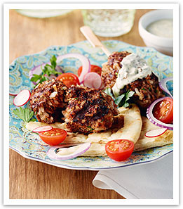 Lamb and Rice Koftas with Tahini Sauce
